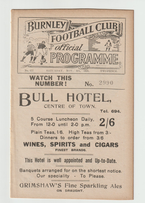 original Official League Division One programme for the game, Burnley V Bury played on 6 November 1926