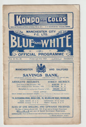 original Official League Division Two programme for the game, Manchester City V Reading played on 5 February 1927