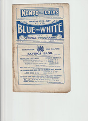 original Official League Division Two programme for the game, Manchester City V Blackpool played on 11 September 1926