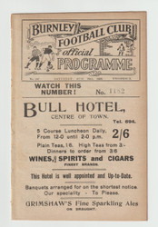 original Official League Division One programme for the game, Burnley V Cardiff City played on 28 August 1926.