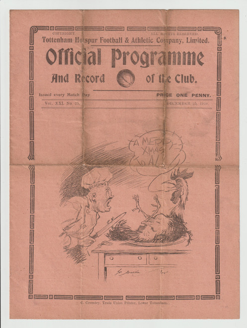 original Official League Division Two programme for the game, Tottenham Hotspur V Reading played on 25 December 1928