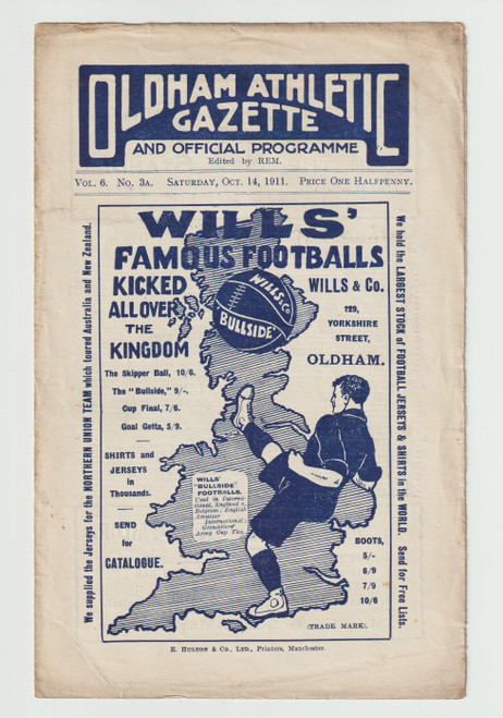 original Official Central League programme for the game, Oldham Athletic Reserves V Everton Reserves played on 14 October 1911