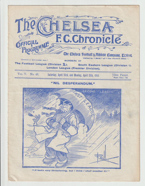 original Official League Division One programme for the game, Chelsea V Bury played on 23 April 1910