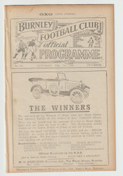 original Official League Division One programme for the game, Burnley V Newcastle United played on 1 December 1923