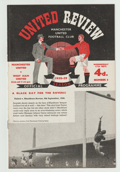 original official League Division one programme for the game, Manchester United V West Ham United played on 17 September 1958