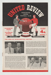 original official League Division one programme for the game, Manchester United V Tottenham Hotspur played on 20 September 1958
