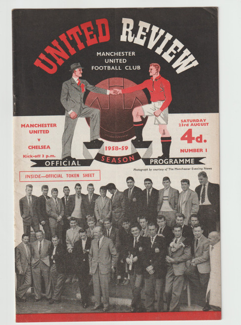 original official League Division one programme for the game, Manchester United V Chelsea played on 23 August 1958.