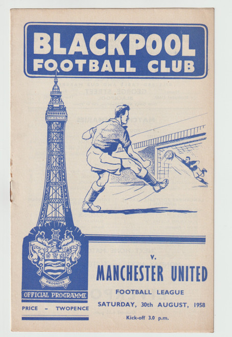 original official League Division one programme for the game, Blackpool V Manchester United played on 30 August 1958