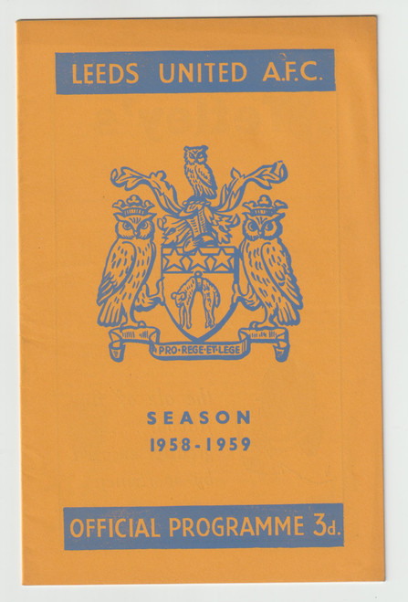 original official League Division one programme for the game, Leeds United V Manchester United played on 1 November 1958