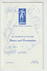 original signed menu for the Football Writers Association Footballer of the Year 1980/81, won by Frans Thijssen of Ipswich Town