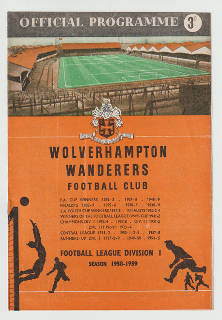 original Official League Division one programme for the game, Wolverhampton Wanderers V Manchester United played on 4 October 1958