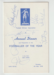 original signed menu for the Football Writers Association Footballer of the Year 1977/78