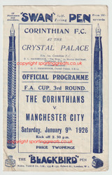 originalofficial FA Cup Third Round programme for the game, Corinthians V Manchester City played 9 January 1926 at Crystal Palace