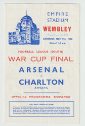 originalofficial 1943 War FA Cup Final (South) programme for the game, Arsenal V Charlton Athletic played on 1 May 1943 at Wembley Stadium