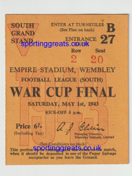 original official used ticket for the Football League War Cup Final (South), Arsenal V Charlton Athletic played 1 May 1943 at Wembley Stadium