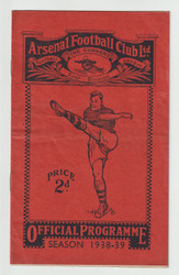 original official League Division One programme for the game, Arsenal V Everton played 10 September 1938.