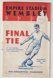 originalofficial 1939 FA Cup Final programme for the game, Portsmouth V Wolverhampton Wanderers played 29 April 1939 at Wembley Stadium