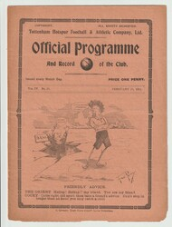 original official South Eastern League programme for the game, Tottenham Hotspur V Croydon Common played on 10 February 1912