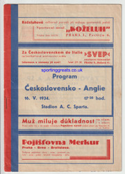 original official programme for the game, Czechoslovakia V England played at Sparta Praha Stadium, Prague, on 16 May 1934.