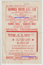 original official programme for the end of season friendly, Shamrock Rovers V Manchester United played on 29 May 1949.