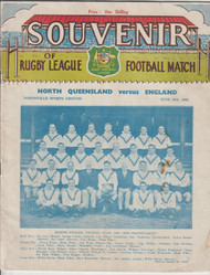 original official Rugby League programme for the game, North Queensland V England played on 30 June 1946
