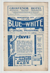 original official FA Cup 4th round programme for the game, Manchester City V Walsall played on 28 January 1933