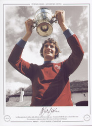 Burnley captain Martin Dobson holds aloft the 2nd Division trophy, 1973. The clarets finished the 1972/73 season with a total of 62 points, a single point ahead of their closest rivals QPR.