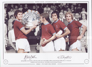 Burnley players Martin Dobson, Geoff Nulty, Frank Casper & Colin Waldron celebrate winning the Charity Shield, after a 1-0 victory over Manchester City at Maine Road, 1973. Colin Waldron scored the only goal of the game.