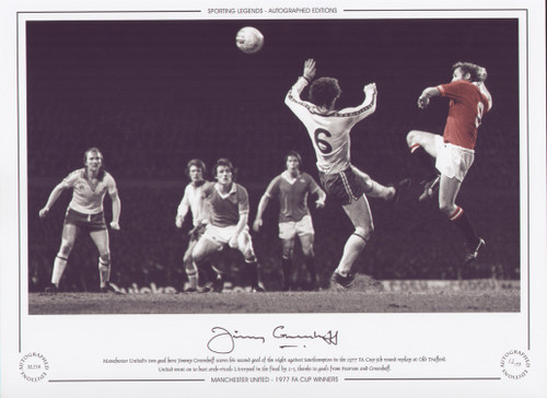 Manchester United's two goal hero Jimmy Greenhoff, scores his second goal of the night against Southampton, in the 1977 FA Cup 5th round replay at Old Trafford. United went on to beat arch rivals Liverpool in the Final.