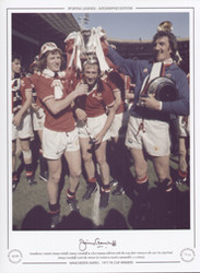 Manchester United's Jimmy Nicholl, Jimmy Greenhoff & Alex Stepney celebrate with the cup after victory in the 1977 FA Cup Final. Jimmy Greenhoff scored the winner for United to record a memorable 2-1 victory.