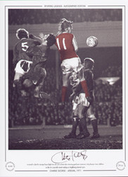 Arsenal's Charlie George leaps high into the air to head the winning goal past Leicester City keeper Peter Shilton in the FA Cup 6th round replay at Highbury, March 1971.