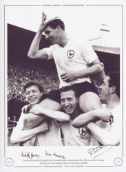 Ron Henry is carried on the shoulders of his Tottenham Hotspur teammates John White, Cliff Jones, and Dave Mackay after their victory over Burnley in the 1962 FA Cup Final at Wembley.
