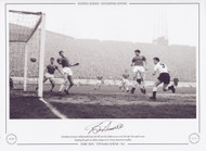 Tottenham Hotspur's Bobby Smith, heads the ball into the Chelsea net to score his sides first goal. Spurs went on to claim a memorable League & Cup double.