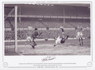 Tottenham Hotspur's Bobby Smith scores the second goal of his hat-trick with a perfectly executed overhead kick against West Brom goalkeeper Ray Potter, during a League Division 1 game at White Hart Lane in 1959.