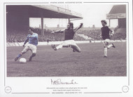 Manchester City V West Ham 1972 Mike Summerbee scores Manchester City's 4th goal against West Ham United, despite a lunge by Frank Lampard, Maine Road 1972.