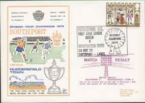 an original first day cover to celebrate Southport Division 4 Champions 1973, issued in November 1973. Complete with filler card.