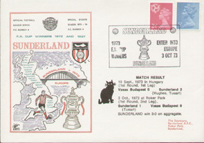 an original first day cover to celebrate Sunderland into Europe as FA Cup Winners, issued in October 1973. Complete with original filler card.