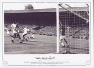 Aston Villa's Peter McParland hooks the ball past Manchester United stand in keeper Jackie Blanchflower, to score his second goal in the 1957 FA Cup Final. McParland scored both goals to give Villa a 2-1 victory.