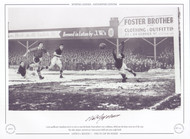 Luton goalkeeper Baynham, dives in vain to stop this header from Bolton's Nat Lofthouse, which put the home team out of the Cup.