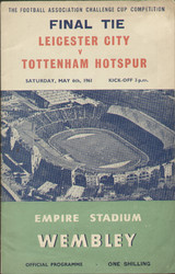 1961 FA Cup Final programme Leicester City V Tottenham Hotspur