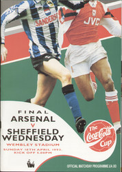 original Official 1993 League Cup Final programme. The game, Arsenal V Sheffield Wednesday was played on 18th April 1993 at Wembley Stadium.