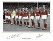 Geoff Hurst and Martin Peters line up with their team mates before the World Cup Final at Wembley on 30th July 1966. Their goals were to give England an historic 4-2 victory over West Germany.