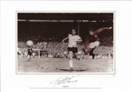 They think it's all over. It is now as Geoff Hurst scores his third goal to seal England's historic 4-2 victory over West Germany in the 1966 World Cup Final at Wembley Stadium.