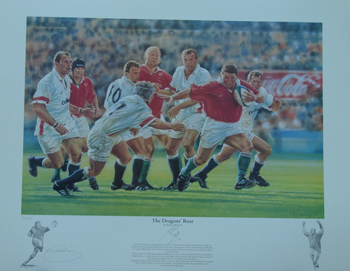 Dragon's Roar Wembley 1999 Great picture with legend detailing the famous victory by Wales over England at Wembley stadium in 1999. This Stunning limited edition print taken from the original artwork by renowned artist Peter Cornwell, is a superb tribute to that iconic game. This is a sold out edition and we are now able to offer a small number of the original artists proofs of which were 50 produced.