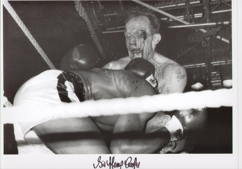 Henry Cooper V Cassius Clay 1963, superb action shot with Cooper bleeding from the cut that would ultimately signal the end of the fight for him in the 5th round.