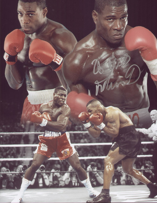 "Frank Bruno V Mike Tyson, great signed montage of Frank Bruno, with images from his clash with ""Iron"" Mike Tyson."