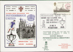 original first day cover to celebrate Peterborough as Division 4 Champions 1974, issued in August 1974. Complete with original filler card.