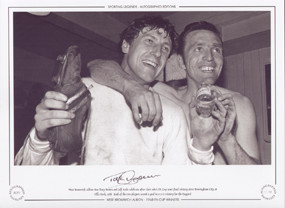 Iconic picture of the triumphant West Brom duo Tony Brown & Jeff Astle as they celebrate their sides FA Cup Semi Final victory over Birmingham City at Villa Park in 1968.