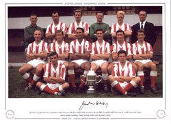 The 1962/63 League division Two Champions Stoke City with their trophy. Stoke returned to the top flight of English football by virtue of a single point, with players such as Stanley Matthews, Jimmy Mcilroy, Jackie Mudie & Dennis Violett.