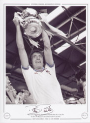West Ham United captain Billy Bonds proudly holds aloft the FA Cup, after his sides 1-0 victory over Arsenal in the 1980 FA Cup Final.